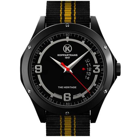 Koppartrans Armbandsur svart | gul/svart armband